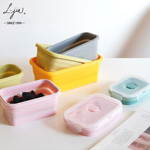 Microwave heated silicone folded lunch box Collapsible Heat-resistent food box portable vegetable container