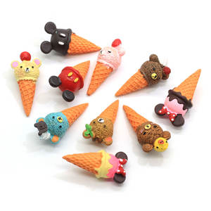 100 Pcs Cartoon Dier Icecream Mini Beer Muis 3D Hars Cabochon Simulatie Voedsel Poppenhuis Telefoon Decor Haarelastiekjes Oorbel Center