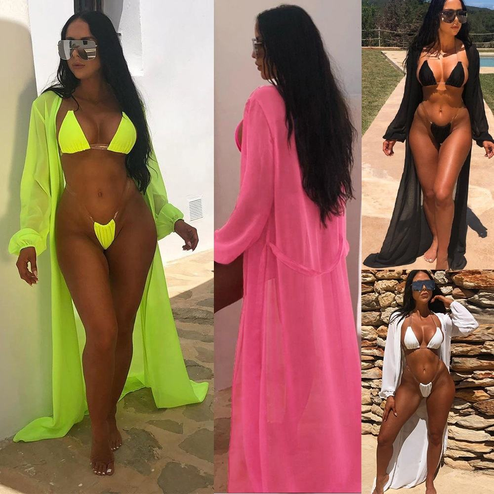 2020 Custom 3 Piece Bathing Suit Women Swimwear Sexy Bikini Cover Ups