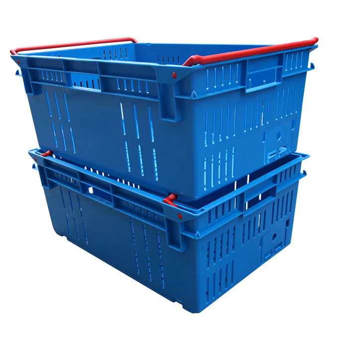 JOIN Plastic Ventilated Vegetable Crate Fruit Basket Nestable Stackable Moving Bale Arm Crate for Storage