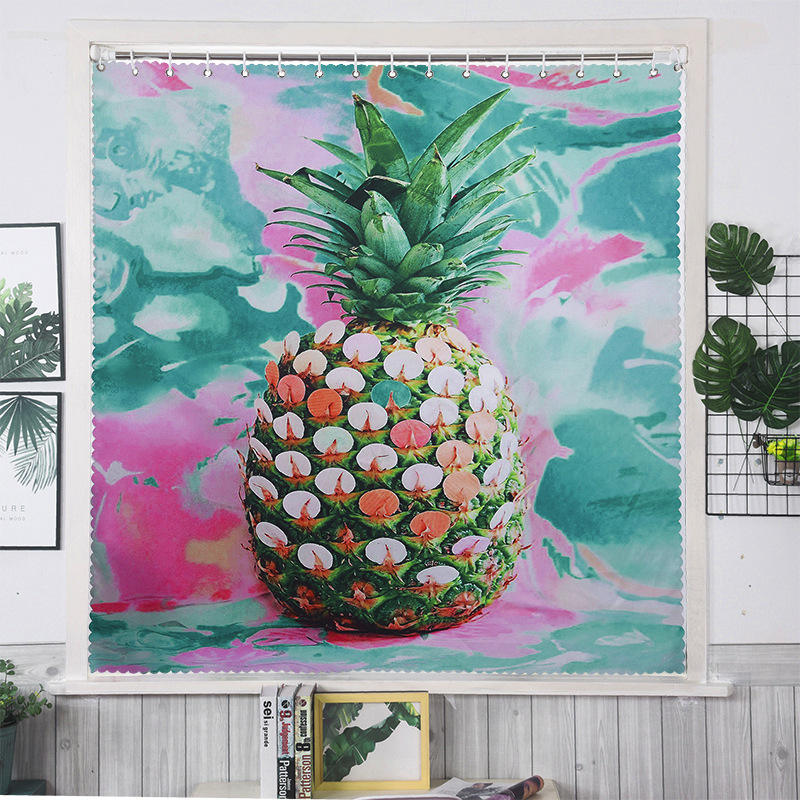 European new kind of cactus picture painting shade curtain mildew proof polyester thick blackout curtain