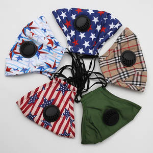 American flag designed 100% cotton Face Cover Bandanas With Valve Filter Pocket For Men Women Cycling Outdoors