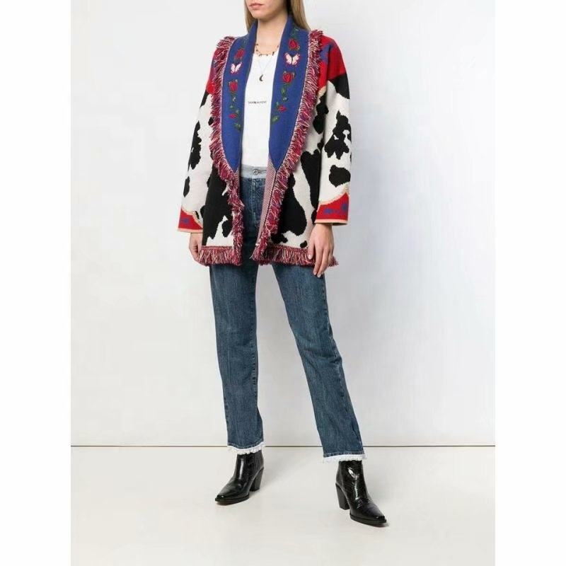 Wholesale Women Ethnic Style Rivet Jacquard Knit Cardigan With Tassel