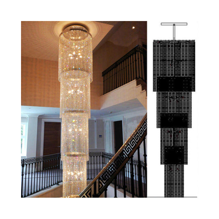 Brilliant classical long chandeliers for staircase with asfour crystal