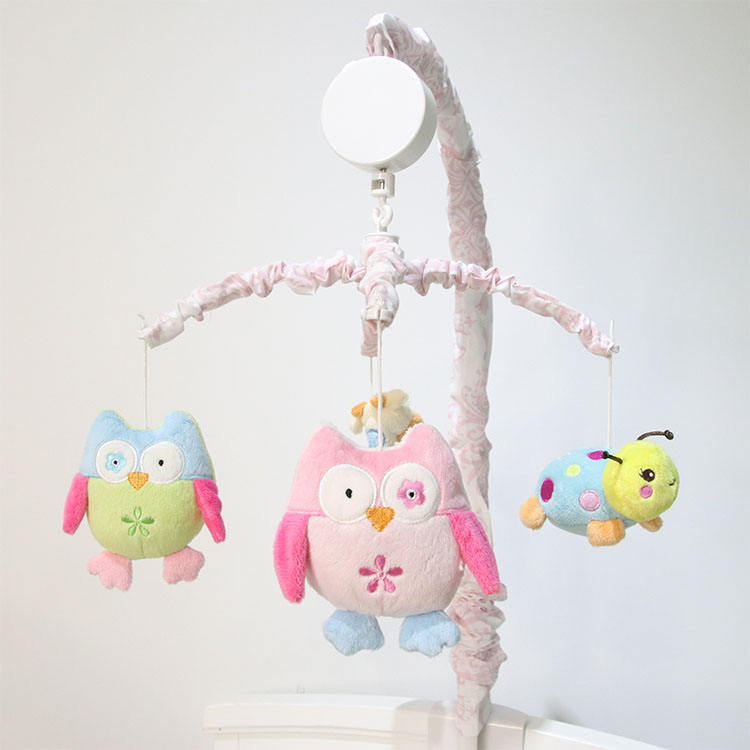 Crib Mobile OEM Colorful Infant Owl Stuffed Animal Bird Plush Baby Musical Hanging Toys Crib Mobile Infant Toys