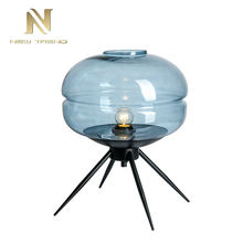 High quality indoor energy saving blue and black iron glass E27 desk light