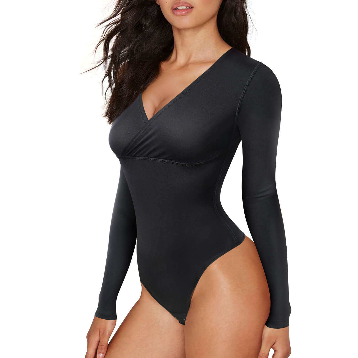 Womens Wrap V Neck Jumpsuit Thong Bodysuit Sexy Long Sleeve One Piece Basic Leotard