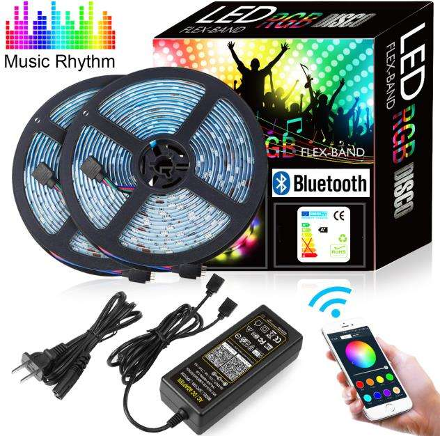 10M (2X5 M) LED Strip RGB 5050 300 (2X150) wasserdicht IP65 Lichtband MIT Multicolor Mengejar Effekt LED Leiste 12V Netzteil Cahaya