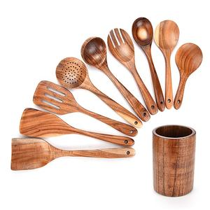 Wholesale 9 piece set Used Home Versatile Accessories Chef Cookware Tools Wooden Cooking Kitchen Utensils