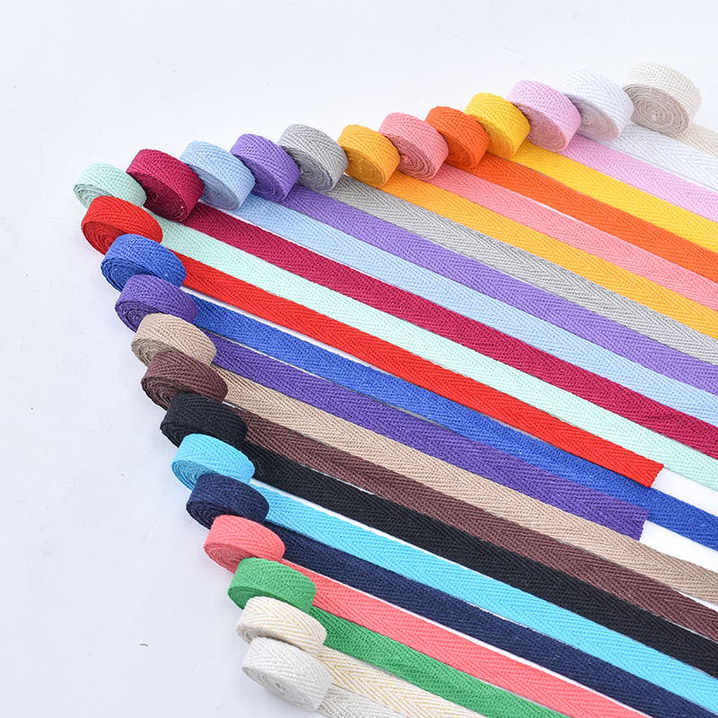 1cm wide colored cloth belt rope binding cotton herringbone weave belt accessorial material bag belt cloth piping strip