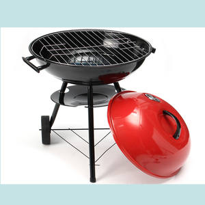 BBQ kettle grill 41cm Porcelain Enameled with wheels - charcoal grill, barbecue, charcoal bbq - Red