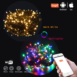 warm white multi color changing Wireless outdoor light Tuya Wifi App Control christmas string light with Music