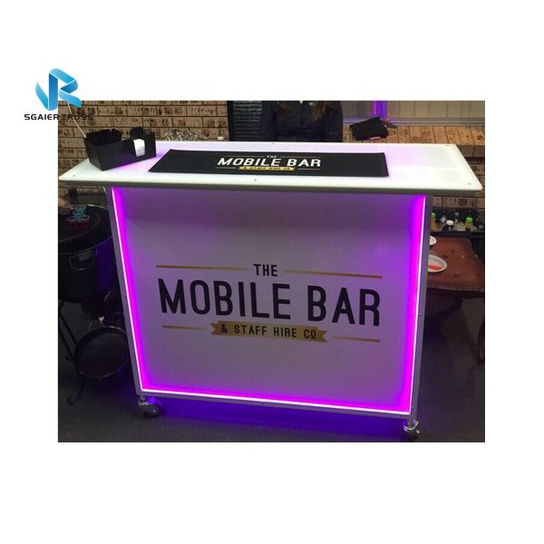 Popular white color LED lighting portable liquir bar table sale