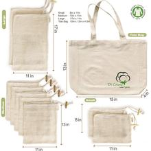 Reusable Produce Bags Organic Cotton Mesh Bags for Grocery Shopping and Storage Washable, Biodegradable, Eco Friendly GOTS