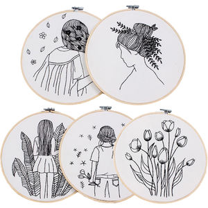 Sketch Easy DIY Embroidery Kit for Beginner Printed Needlework Cross Stitch Set Sewing Art Wall Embroidery Painting Home Decor