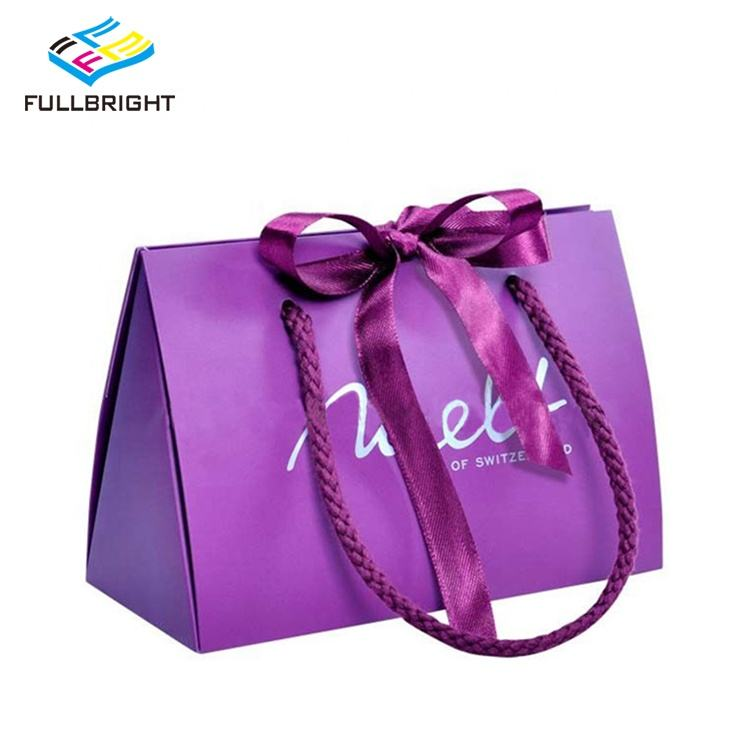 Reusable Boutique Colorful Customised Printing Carrier Purple Craft Paper Logo Gift Bags With Ribbon