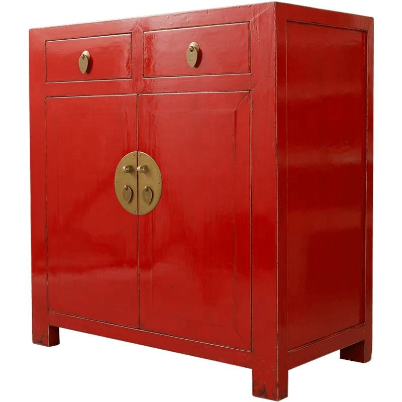 Antique Chinese curio furniture distressed lacquer finish vintage furniture customized living room wood storage cabinet
