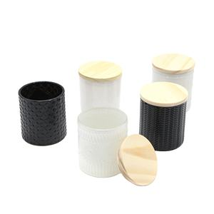 Wholesale custom large volume empty cut matte black high quality glass candle jar