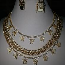 in stock Bling iced out tennis chain diamond necklace women gold butterfly necklace