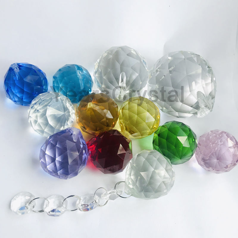 Hot sale Prisms Suncatcher Drops Pendant Crystal Glass Balls facet Chandelier Lighting accessories ball
