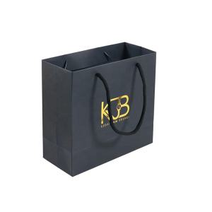 New Gold Logo Hot Foiled Stamping Black Matt Kraft Paper Bag With Cotton Rope Handles