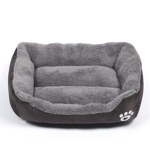 Customize Detachable Rectangle Plush Memory Foam Orthopedic Warm Pet Dog Bed