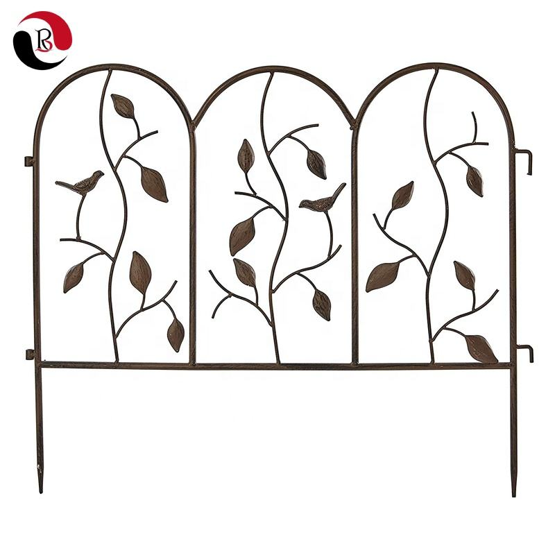 Factory Price Bird and Leaf Design Metal Garden Fence for Plant Climbing Support