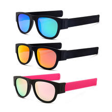 High quality New fashion folding bracelet collapsable slap shades bike glasses polarized sunglasses with UV400
