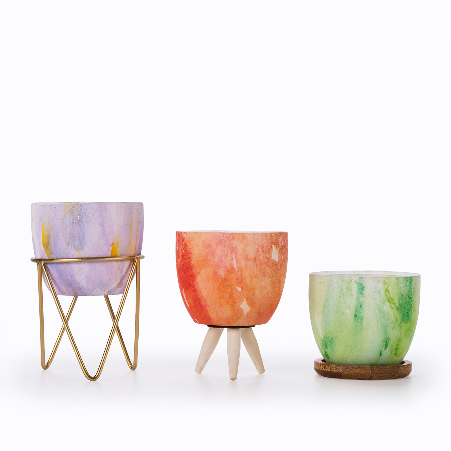 Mini Pastel grain Spring color Succulent Cactus Garden Ceramic Flower Pot with metal stand/ Bamboo saucer/Wood feet 7.8*7.8*6.5