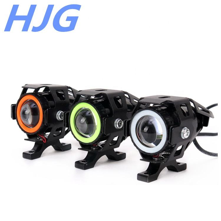 M7 led motorcycle headlight 12v led angle eye headlight 20w waterproof led projector strobe light