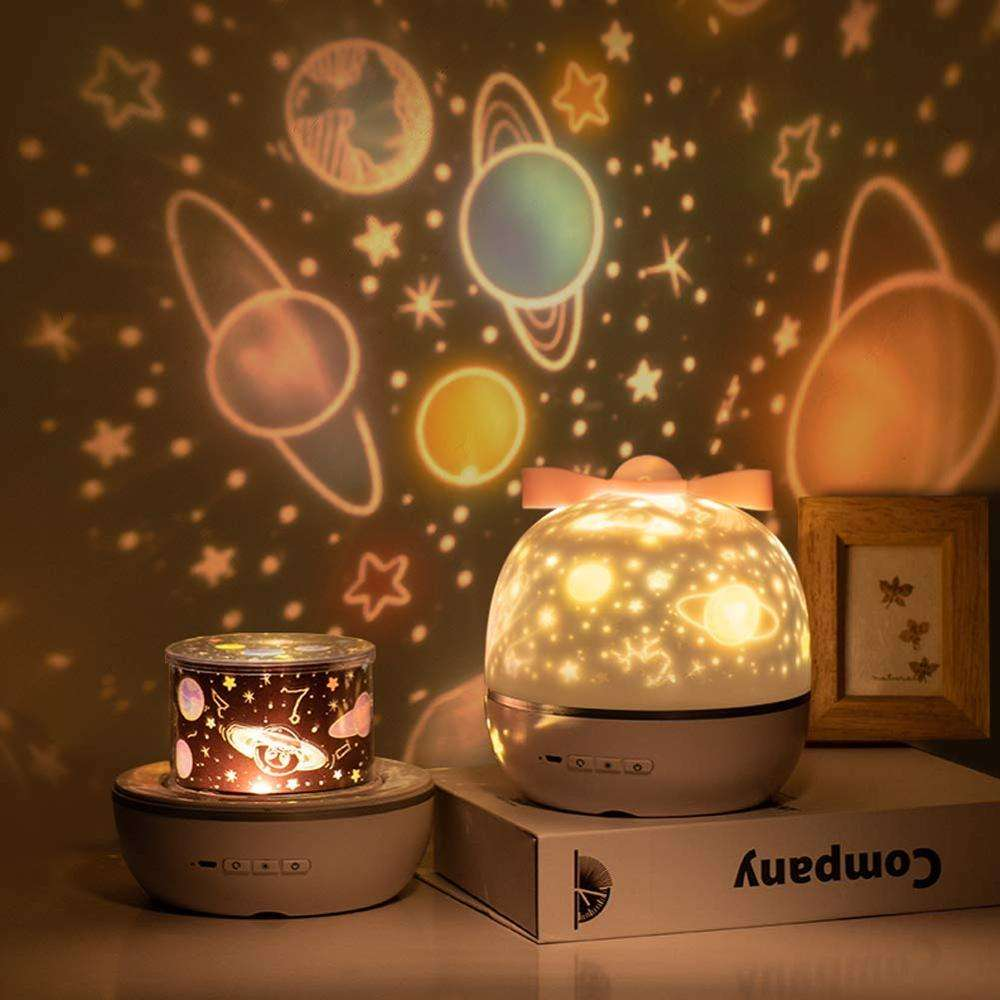 Kids Projection Lamp 6 Set of Films Night Light Projector,360 Degree Rotation Romantic Night Light Star Projector