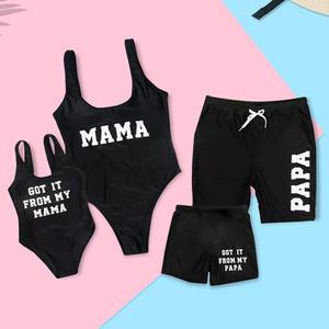 Manufacturer Solid Color Letter Print One Piece Brazilian Beach Men Women Kid Bikini Family swimwear & beachwear