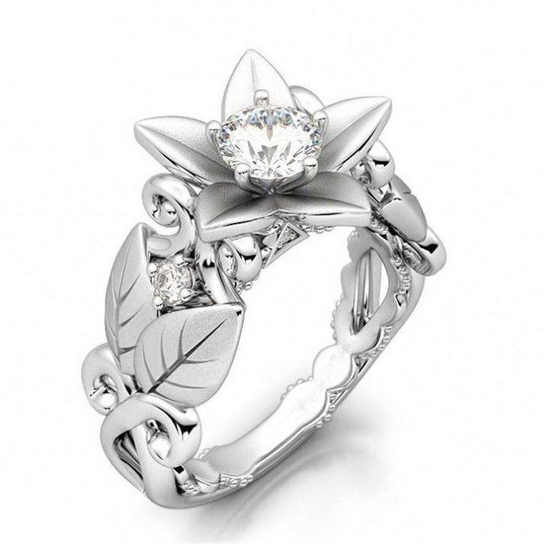New Plant Flower Shape Design Lady Wedding Engagement Ring Zircon Cluster Silver