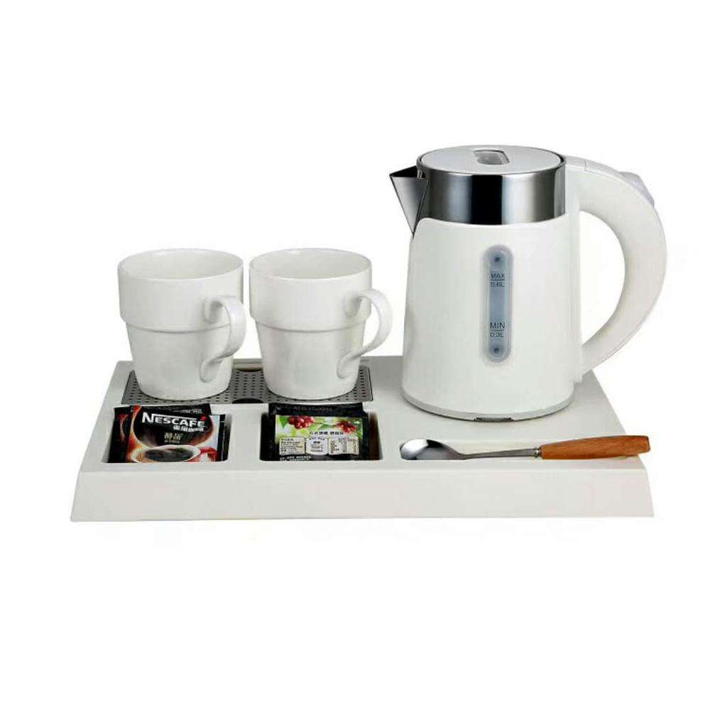 Small capacity hotel supplies melamine tray/electric kettle and teapot set
