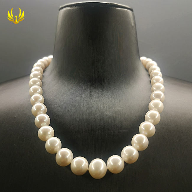 Wholesale 8mm white natural round shape white peal necklace freshwater pearl necklace jewelry