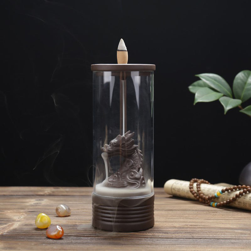 New Design Glass Incense Holder Smoke Backflow Waterfall Dragon Incense Burner