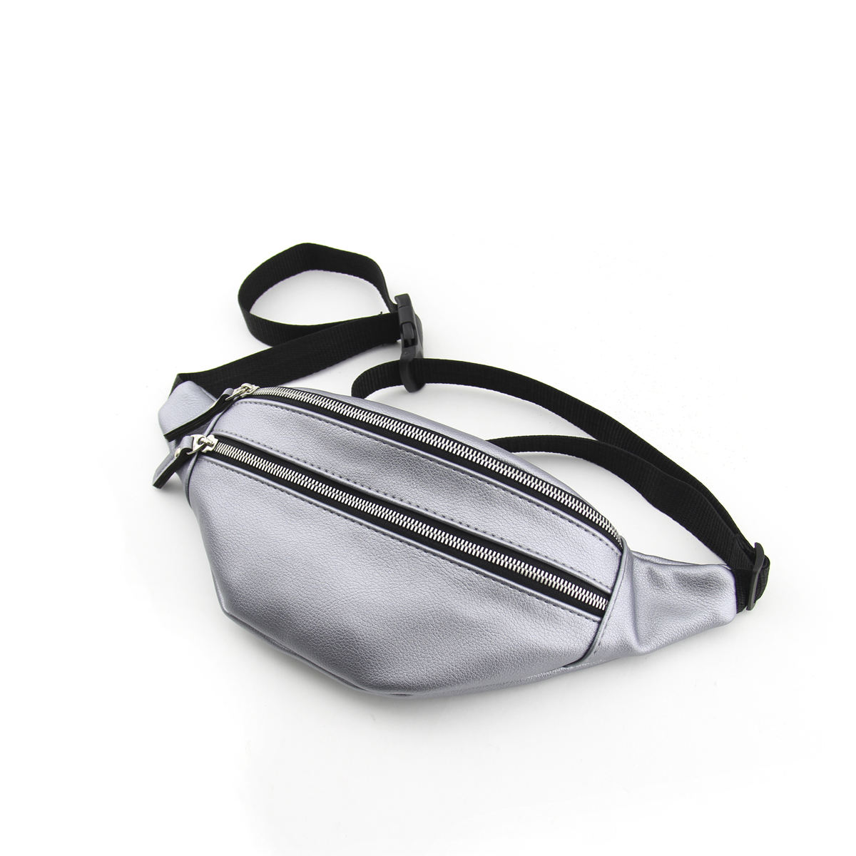 Waist belt bag with adjustable strap with one zipped compartment and zip pocket on the front wall