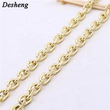 New yellow gold decorative metal chain bag handbag purse strap ring link accessories leather rope chain