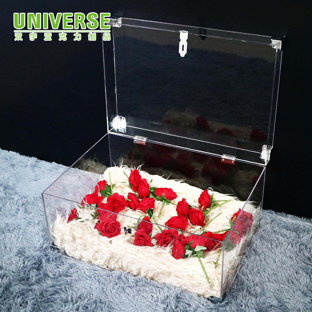 UNIVERSE Factory custom clear acrylic display box with lock acrylic suitcase