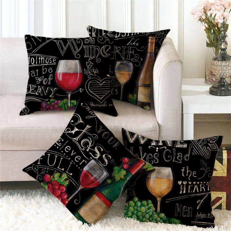 18inch*18inch Black style red wine glass and grapes pattern linen cushion cover throw pillow cover decorative pillows