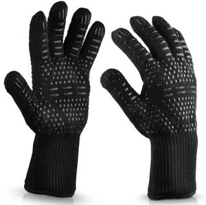 932F Extreme Heat Resistant Glove Oven BBQ Grill Glove with Food Silicone Gel