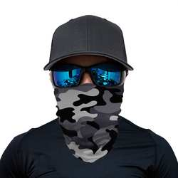 Fashion Grey army camouflage theme Printing Protective Neck Gaiter Seamless Bandana Custom Logo Fishing Scarf Bandana Tubular