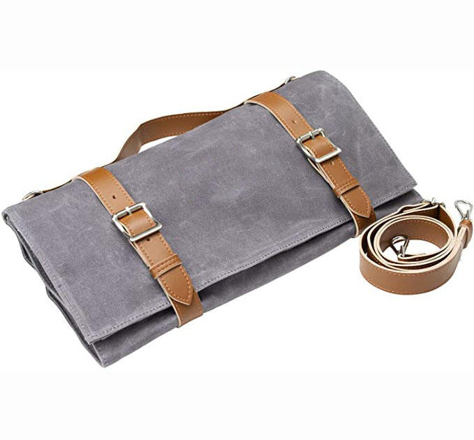 Lightweight Genuine Premium Leather 16 Slots Dark Brown Chef Knife Bag Low MOQ Chef Knife Roll