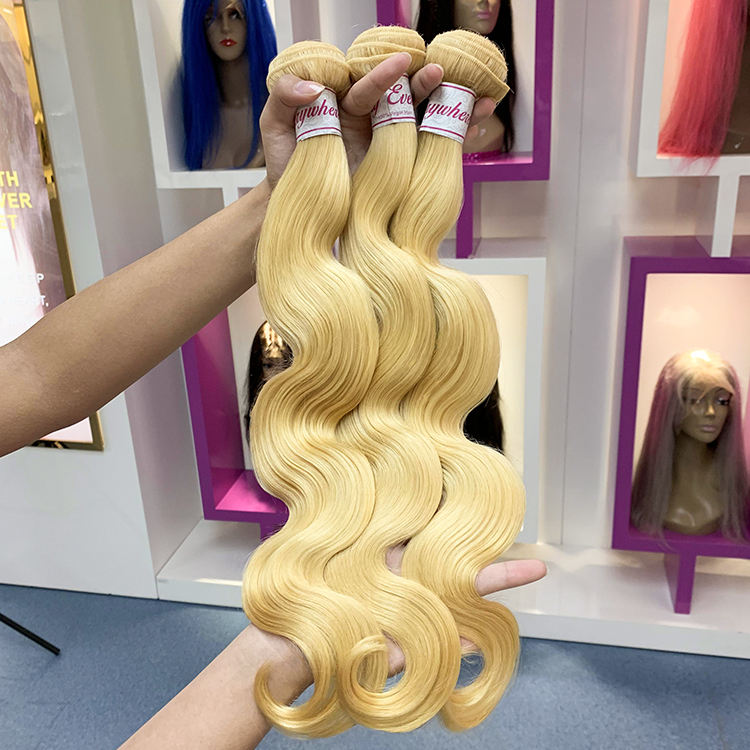 XBL Free shipping virgin brazilian 613 blonde human hair bundles with closure,unprocessed human virgin hair weave hair extension