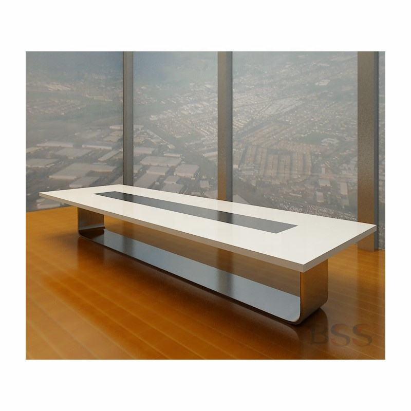 High Glass Oval 20 People Meeting Room Table Electric Intelligent Media Furniture Conference Big Modern Office Luxury Meeting T