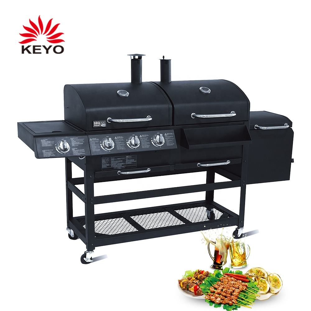 Gas Charcoal Combo Combination Hybrid Gas BBQ Barbecue Grills with Infrared burner for Outdoor Kitchen Cooking Equipment