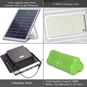 300W Solar Flood Lights  6500 Lumens LED Outdoor IP67 Waterproof with Remote Control