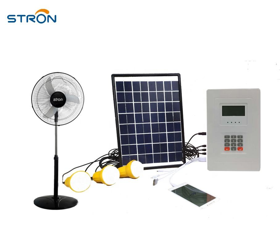 30W PAYG running Fan solar home system with Vending software can integrated to local mobile payment