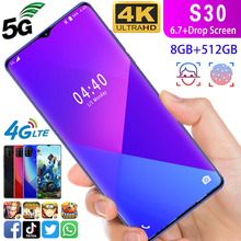 Free postage as S30 android mobile phone 6.7 inch 6GB+128G Octa Core gaming phone Android OS9.1 Cell 5g Phone