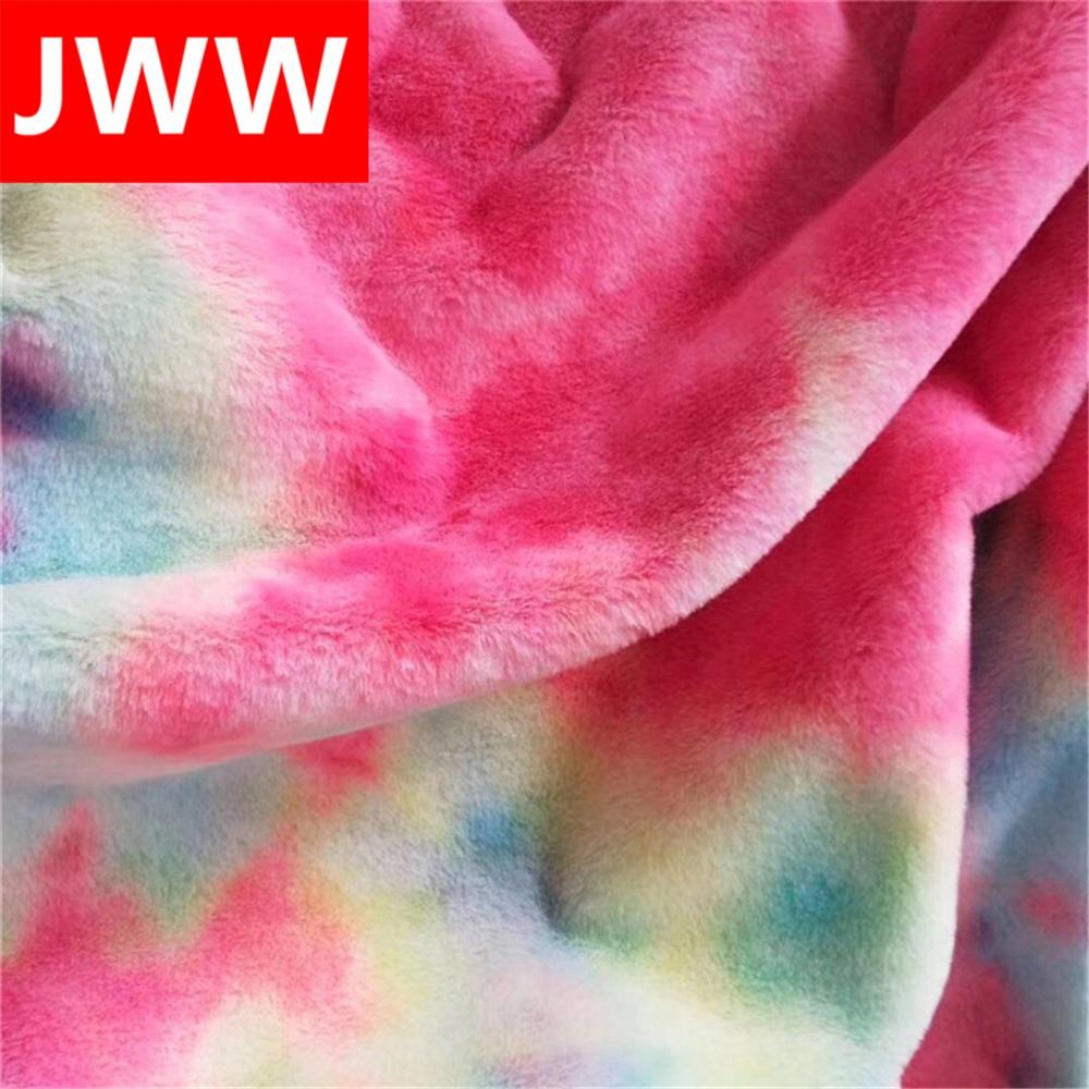 Hot Sale 100 Polyester Tie Dye PV Velvet Plush Fabric Soft Toys Rabbit Short Pile Fur Fabric
